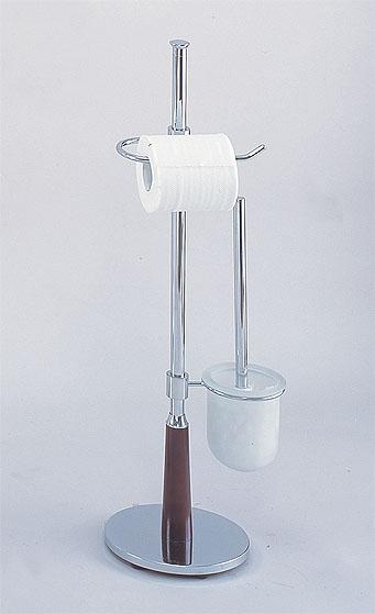 Wooden-leg-based toilet brush caddy
