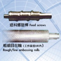 Feed screws,Rough/fine embossing rolls