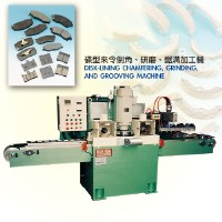 Disk-lining chamfering, grinding, and grooving machine