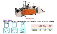 AUTOMATIC COAT-HANGER/PERFORATED ROLLSTOCK BAG MAKING MACHINE  WITH SINGLE REWINDER