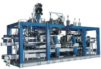 Continuous extrusion blow moulding machine