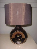 O-Shaped Ceramic Base Desk Lamp with Fabric Shade