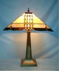 彩色玻璃幾何圖案天芬尼台燈