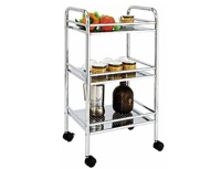 3-layer Punch Plate Food Trolley with Plastic Wheels
