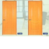 Composite teak-woodrain-lamlnated door set