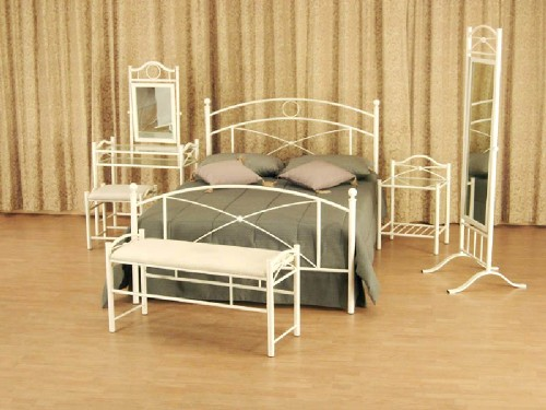 ROOM SET: METAL BED, BEDSIDE TABLE, CHEVAL MIRROR, BENCH