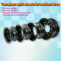 Two-piece split wheels for resilient tires