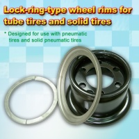 Lock-ring-type wheel rims for tube tires and solid tires